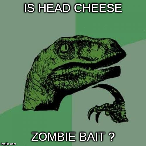 Just saw this in a local deli... | IS HEAD CHEESE ZOMBIE BAIT ? | image tagged in memes,philosoraptor,zombie | made w/ Imgflip meme maker