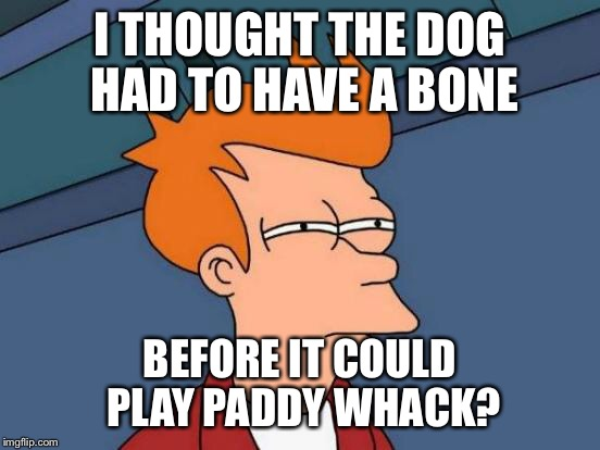 Futurama Fry Meme | I THOUGHT THE DOG HAD TO HAVE A BONE BEFORE IT COULD PLAY PADDY WHACK? | image tagged in memes,futurama fry | made w/ Imgflip meme maker
