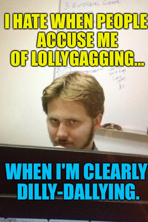 :) | I HATE WHEN PEOPLE ACCUSE ME OF LOLLYGAGGING... WHEN I'M CLEARLY DILLY-DALLYING. | image tagged in coworker,memes,lol,work | made w/ Imgflip meme maker