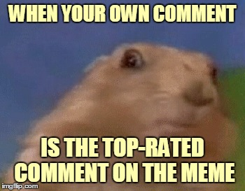 WHEN YOUR OWN COMMENT IS THE TOP-RATED COMMENT ON THE MEME | made w/ Imgflip meme maker