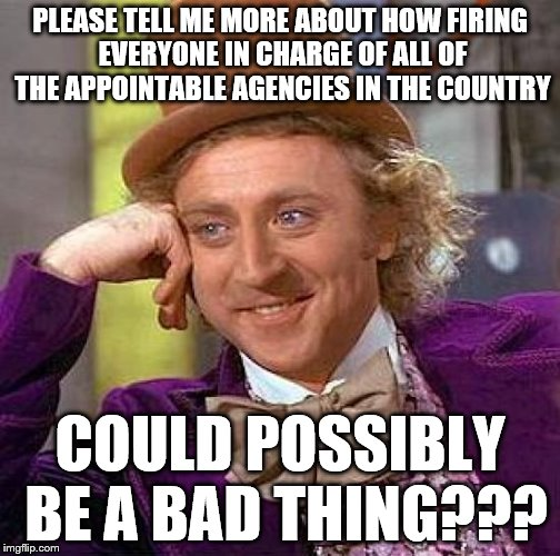 Creepy Condescending Wonka Meme | PLEASE TELL ME MORE ABOUT HOW FIRING EVERYONE IN CHARGE OF ALL OF THE APPOINTABLE AGENCIES IN THE COUNTRY COULD POSSIBLY BE A BAD THING??? | image tagged in memes,creepy condescending wonka | made w/ Imgflip meme maker