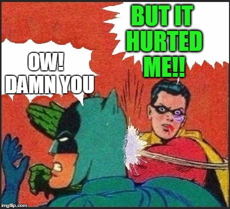 Robin slaps | BUT IT HURTED ME!! OW!  DAMN YOU | image tagged in robin slaps | made w/ Imgflip meme maker