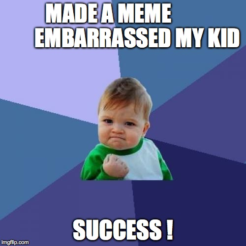 Success Kid Meme |  MADE A MEME              EMBARRASSED MY KID; SUCCESS ! | image tagged in memes,success kid | made w/ Imgflip meme maker