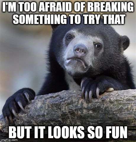 Confession Bear Meme | I'M TOO AFRAID OF BREAKING SOMETHING TO TRY THAT BUT IT LOOKS SO FUN | image tagged in memes,confession bear | made w/ Imgflip meme maker