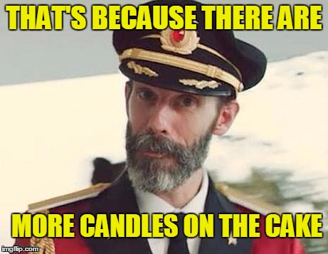 Captain Obvious | THAT'S BECAUSE THERE ARE MORE CANDLES ON THE CAKE | image tagged in captain obvious | made w/ Imgflip meme maker
