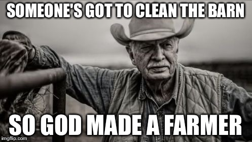 So God Made A Farmer | SOMEONE'S GOT TO CLEAN THE BARN SO GOD MADE A FARMER | image tagged in memes,so god made a farmer | made w/ Imgflip meme maker