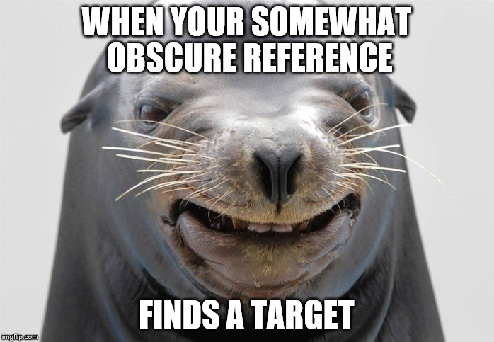 happy seal | WHEN YOUR SOMEWHAT OBSCURE REFERENCE FINDS A TARGET | image tagged in happy seal | made w/ Imgflip meme maker