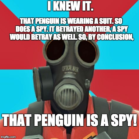 Paranoid Pyro | I KNEW IT. THAT PENGUIN IS WEARING A SUIT. SO DOES A SPY. IT BETRAYED ANOTHER, A SPY WOULD BETRAY AS WELL. SO, BY CONCLUSION, THAT PENGUIN I | image tagged in paranoid pyro | made w/ Imgflip meme maker