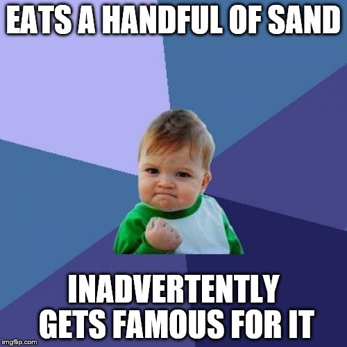 Success Kid Meme | EATS A HANDFUL OF SAND INADVERTENTLY GETS FAMOUS FOR IT | image tagged in memes,success kid | made w/ Imgflip meme maker