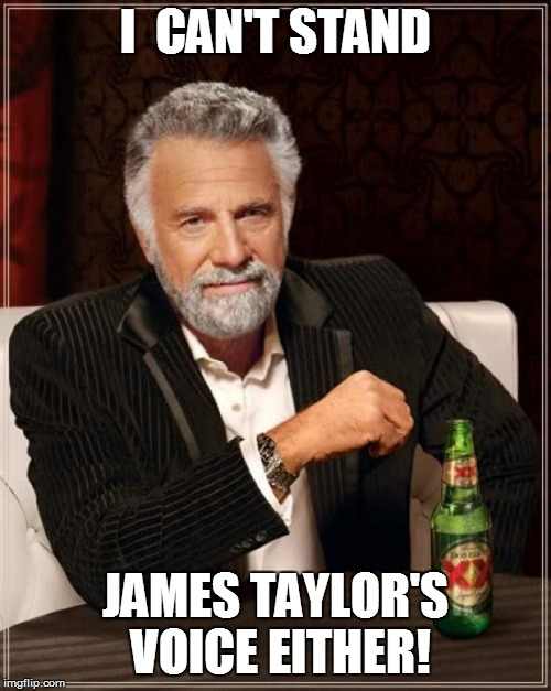 The Most Interesting Man In The World Meme | I  CAN'T STAND JAMES TAYLOR'S VOICE EITHER! | image tagged in memes,the most interesting man in the world | made w/ Imgflip meme maker