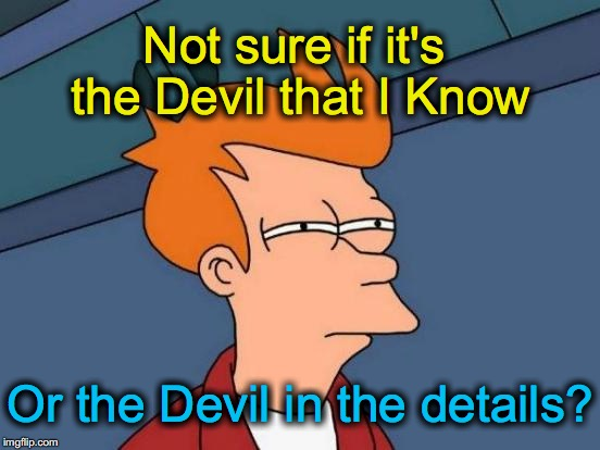 Futurama Fry Meme | Not sure if it's the Devil that I Know Or the Devil in the details? | image tagged in memes,futurama fry | made w/ Imgflip meme maker