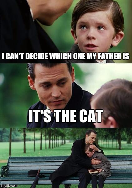 Finding Neverland Meme | I CAN'T DECIDE WHICH ONE MY FATHER IS IT'S THE CAT | image tagged in memes,finding neverland | made w/ Imgflip meme maker