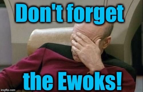 Captain Picard Facepalm Meme | Don't forget the Ewoks! | image tagged in memes,captain picard facepalm | made w/ Imgflip meme maker