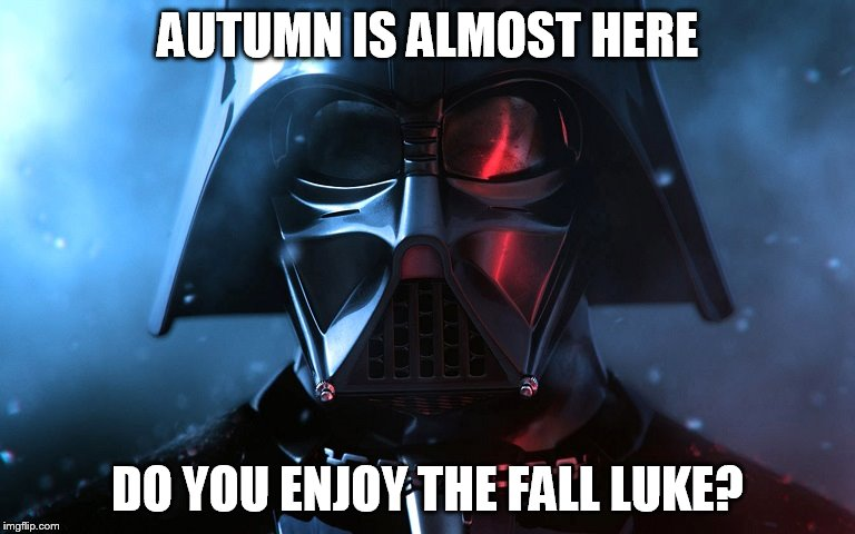Darth Vader Head Shot | AUTUMN IS ALMOST HERE DO YOU ENJOY THE FALL LUKE? | image tagged in darth vader head shot | made w/ Imgflip meme maker