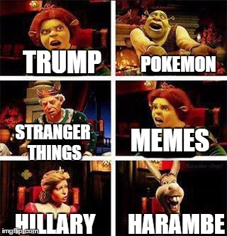 2016 summed up! | TRUMP HILLARY STRANGER THINGS POKEMON MEMES HARAMBE | image tagged in shrek,memes,pokemon,presidential election,harambe | made w/ Imgflip meme maker