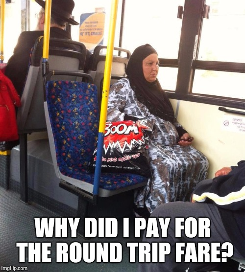 Oh snap! She's going there! | WHY DID I PAY FOR THE ROUND TRIP FARE? | image tagged in kaboom,bus | made w/ Imgflip meme maker