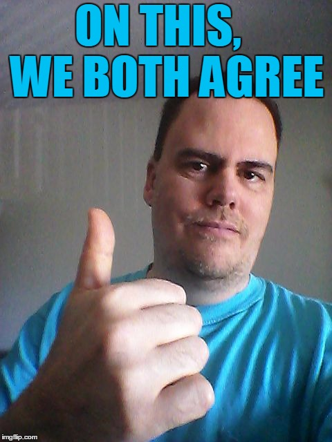 Thumbs up | ON THIS,  WE BOTH AGREE | image tagged in thumbs up | made w/ Imgflip meme maker