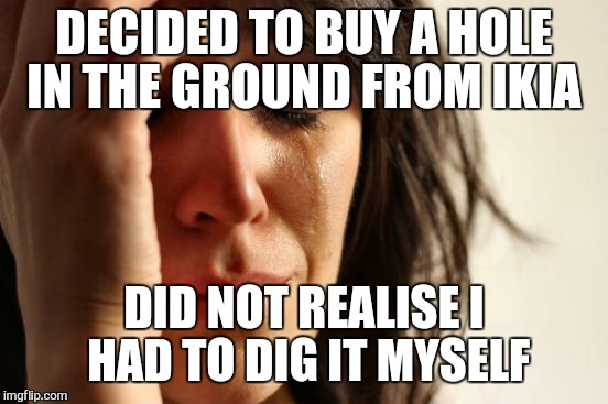 Home depot... | DECIDED TO BUY A HOLE IN THE GROUND FROM IKIA DID NOT REALISE I HAD TO DIG IT MYSELF | image tagged in memes,first world problems,ikia | made w/ Imgflip meme maker