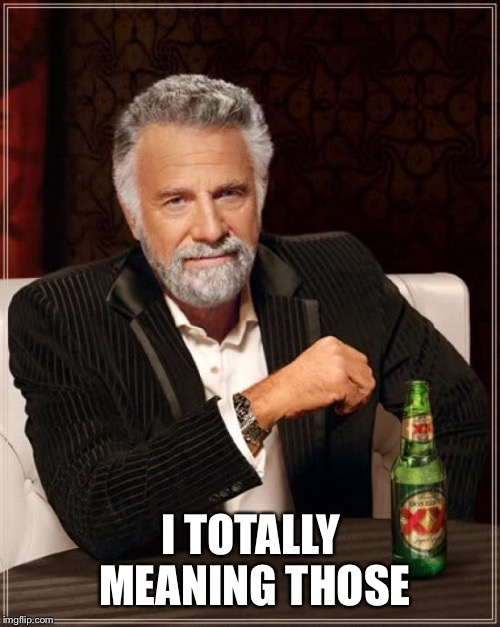 The Most Interesting Man In The World Meme | I TOTALLY MEANING THOSE | image tagged in memes,the most interesting man in the world | made w/ Imgflip meme maker