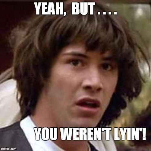 Conspiracy Keanu Meme | YEAH,  BUT . . . . YOU WEREN'T LYIN'! | image tagged in memes,conspiracy keanu | made w/ Imgflip meme maker