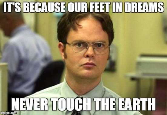 IT'S BECAUSE OUR FEET IN DREAMS NEVER TOUCH THE EARTH | image tagged in dwight schrute | made w/ Imgflip meme maker