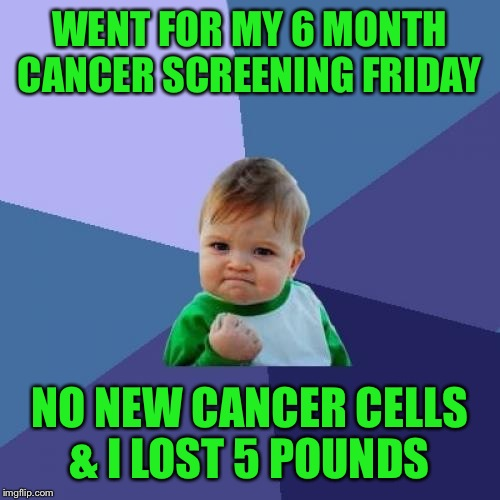 It's been a long 6 months. Thanks to you all for helping me laugh through it.  | WENT FOR MY 6 MONTH CANCER SCREENING FRIDAY NO NEW CANCER CELLS & I LOST 5 POUNDS | image tagged in memes,success kid | made w/ Imgflip meme maker