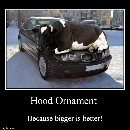 Because people judge you by the size of your bling! | Hood Ornament | Because bigger is better! | image tagged in funny,demotivationals,hood ornament,bigger is better,demotivational week,cow | made w/ Imgflip demotivational maker