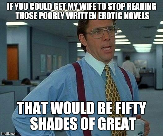 That Would Be Great Meme | IF YOU COULD GET MY WIFE TO STOP READING THOSE POORLY WRITTEN EROTIC NOVELS THAT WOULD BE FIFTY SHADES OF GREAT | image tagged in memes,that would be great | made w/ Imgflip meme maker