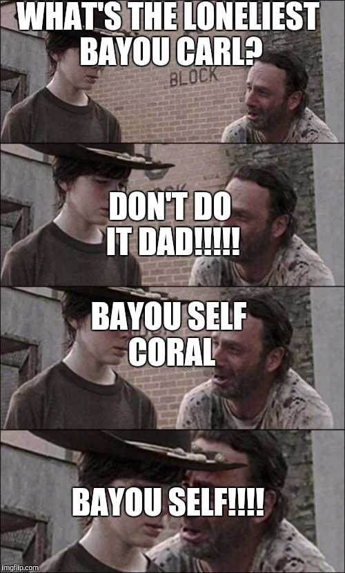 the walking dead coral | WHAT'S THE LONELIEST BAYOU CARL? DON'T DO IT DAD!!!!! BAYOU SELF CORAL BAYOU SELF!!!! | image tagged in the walking dead coral | made w/ Imgflip meme maker