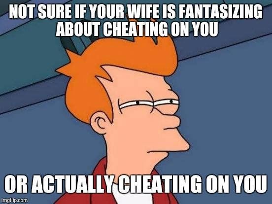 Futurama Fry Meme | NOT SURE IF YOUR WIFE IS FANTASIZING ABOUT CHEATING ON YOU OR ACTUALLY CHEATING ON YOU | image tagged in memes,futurama fry | made w/ Imgflip meme maker