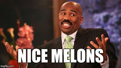 Steve Harvey Meme | NICE MELONS | image tagged in memes,steve harvey | made w/ Imgflip meme maker