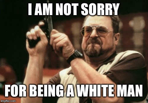 Am I The Only One Around Here Meme | I AM NOT SORRY FOR BEING A WHITE MAN | image tagged in memes,am i the only one around here | made w/ Imgflip meme maker
