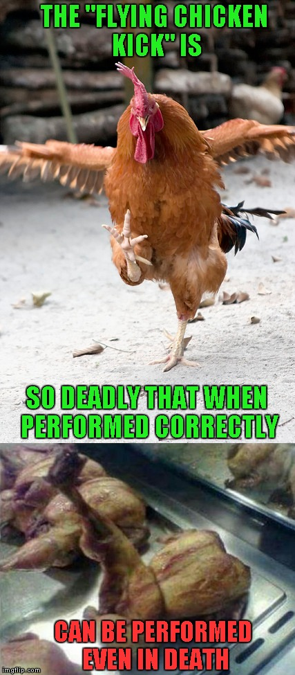 "THE ""FLYING CHICKEN KICK"" IS SO DEADLY THAT WHEN PERFORMED CORRECTLY CAN BE PERFORMED EVEN IN DEATH 