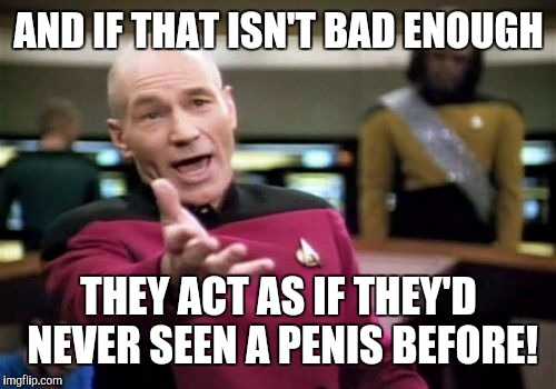 Picard Wtf Meme | AND IF THAT ISN'T BAD ENOUGH THEY ACT AS IF THEY'D NEVER SEEN A P**IS BEFORE! | image tagged in memes,picard wtf | made w/ Imgflip meme maker