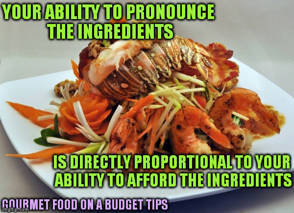 Looking at glossy chef magazines like... | GOURMET FOOD ON A BUDGET TIPS YOUR ABILITY TO PRONOUNCE THE INGREDIENTS IS DIRECTLY PROPORTIONAL TO YOUR ABILITY TO AFFORD THE INGREDIENTS | image tagged in memes,gourmet food,budget,poor,fancy pants,delicious | made w/ Imgflip meme maker