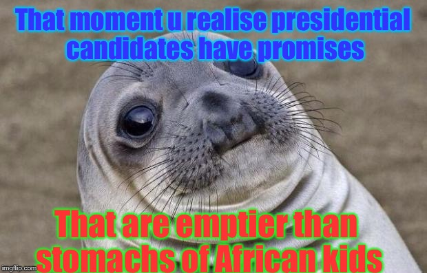 Awkward Moment Sealion | That moment u realise presidential candidates have promises That are emptier than stomachs of African kids | image tagged in memes,awkward moment sealion,presidential candidates,african,funny,empty | made w/ Imgflip meme maker