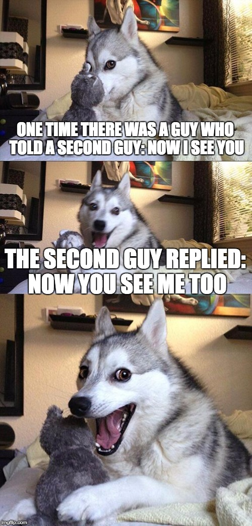 Bad Pun Dog | ONE TIME THERE WAS A GUY WHO TOLD A SECOND GUY: NOW I SEE YOU THE SECOND GUY REPLIED: NOW YOU SEE ME TOO | image tagged in memes,bad pun dog | made w/ Imgflip meme maker