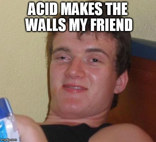 10 Guy Meme | ACID MAKES THE WALLS MY FRIEND | image tagged in memes,10 guy | made w/ Imgflip meme maker