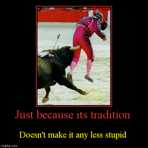 If you want to play you're going to pay! | Just because its tradition | Doesn't make it any less stupid | image tagged in funny,demotivationals,bull fighting gone wrong,traditions,stupid,thats gotta hurt | made w/ Imgflip demotivational maker
