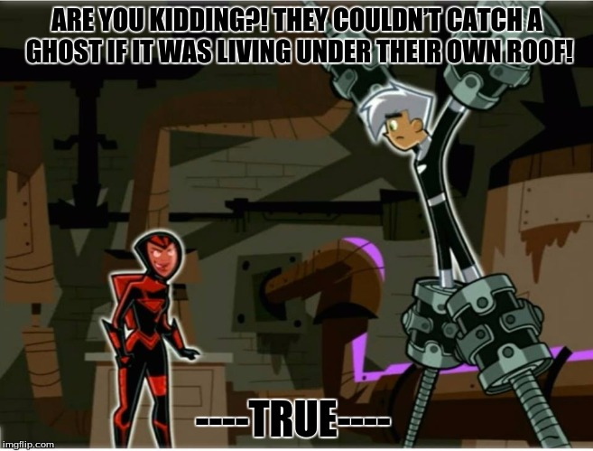 True  | ARE YOU KIDDING?! THEY COULDN'T CATCH A GHOST IF IT WAS LIVING UNDER THEIR OWN ROOF! ----TRUE---- | image tagged in danny phantom | made w/ Imgflip meme maker