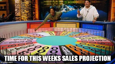 Weekly Sales Projections | TIME FOR THIS WEEKS SALES PROJECTION | image tagged in wheel of fortune,sales,target,projections,sale,quota | made w/ Imgflip meme maker