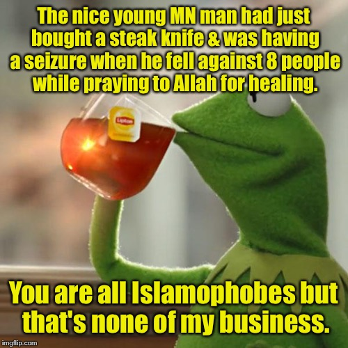 See no jihad, hear no jihad, defend against no jihad!   | The nice young MN man had just bought a steak knife & was having a seizure when he fell against 8 people while praying to Allah for healing. | image tagged in memes,but thats none of my business,kermit the frog,jihad,mall stabber,allah | made w/ Imgflip meme maker