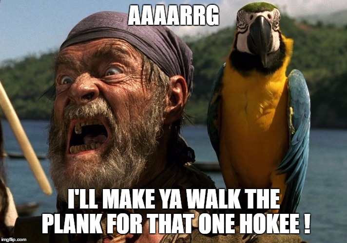AAAARRG I'LL MAKE YA WALK THE PLANK FOR THAT ONE HOKEE ! | made w/ Imgflip meme maker