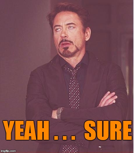 Face You Make Robert Downey Jr Meme | YEAH . . .  SURE | image tagged in memes,face you make robert downey jr | made w/ Imgflip meme maker