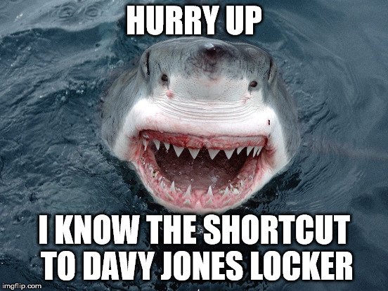 HURRY UP I KNOW THE SHORTCUT TO DAVY JONES LOCKER | made w/ Imgflip meme maker