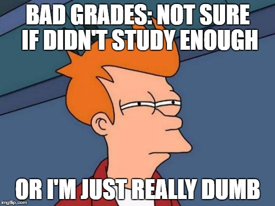 Bad grades because really dumb? | BAD GRADES: NOT SURE IF DIDN'T STUDY ENOUGH OR I'M JUST REALLY DUMB | image tagged in memes,futurama fry,bad grades,studying,dumb,not sure | made w/ Imgflip meme maker