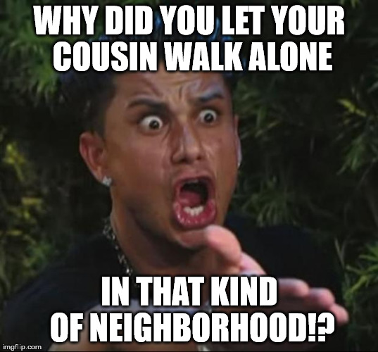 Pauly | WHY DID YOU LET YOUR COUSIN WALK ALONE IN THAT KIND OF NEIGHBORHOOD!? | image tagged in pauly | made w/ Imgflip meme maker