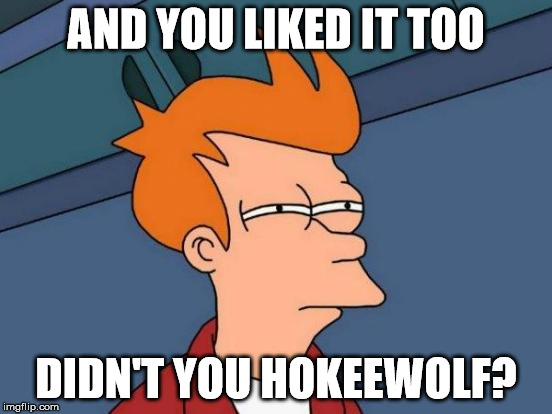Futurama Fry Meme | AND YOU LIKED IT TOO DIDN'T YOU HOKEEWOLF? | image tagged in memes,futurama fry | made w/ Imgflip meme maker