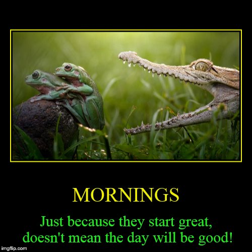 Life is always ready to nip you in the butt! | MORNINGS | Just because they start great, doesn't mean the day will be good! | image tagged in funny,demotivationals,mornings,bad day,frogs,thats life | made w/ Imgflip demotivational maker