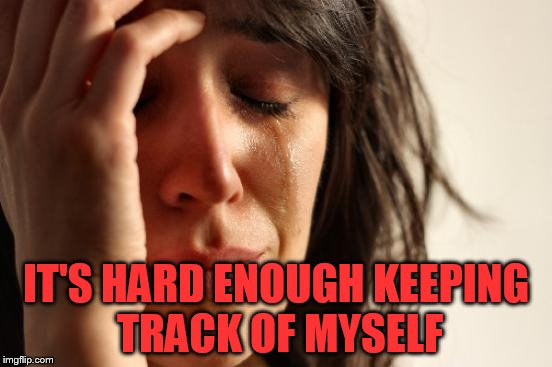 First World Problems Meme | IT'S HARD ENOUGH KEEPING TRACK OF MYSELF | image tagged in memes,first world problems | made w/ Imgflip meme maker